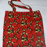 Bright red poppies cloth shopping bag