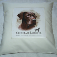 Chocolate Labrador Portrait cushion