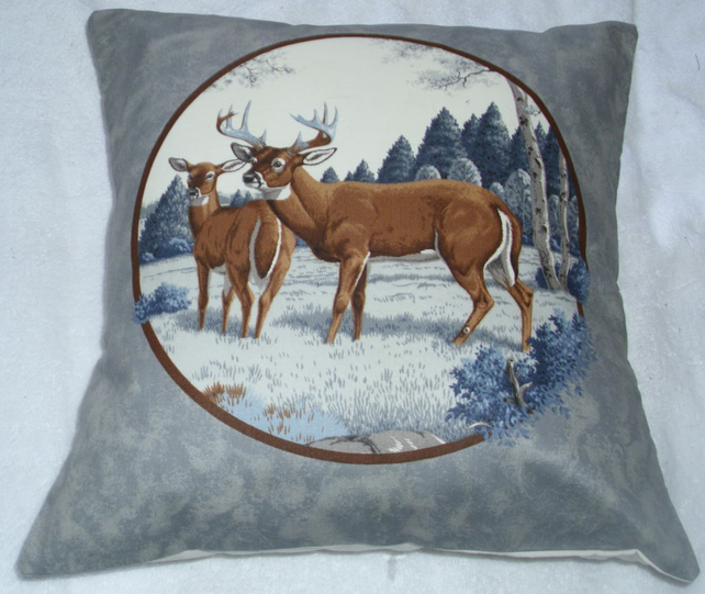 Deer and Stag in a field by an Autumnal forest cushion (grey)