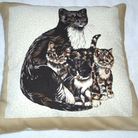 Lovely Black and white cat with her kittens cushion