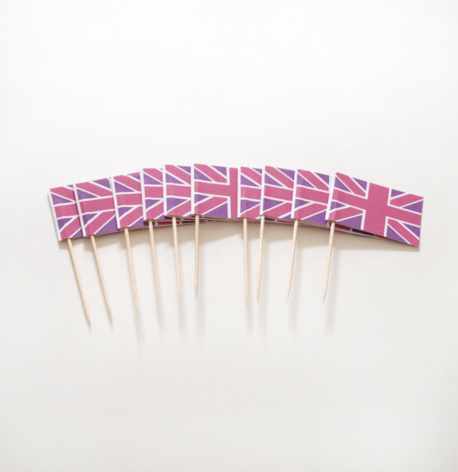 Pink and Purple Union Jack Cake Toppers Diamond Jubilee