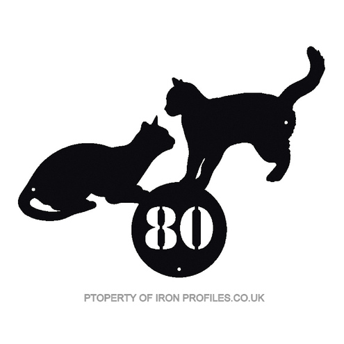 PAIR OR CATS SIGN CUSTOM HOUSE DOOR GATE WALL NUMBER PLAQUE