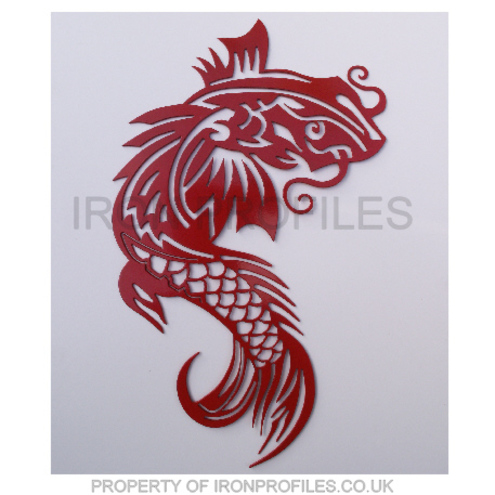 Koi dragon fish metal wall hanging art home gar folksy for Koi metal wall art