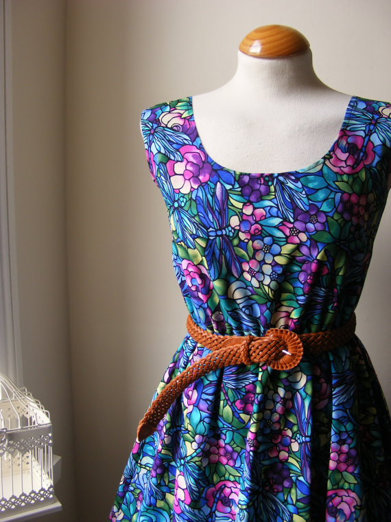 Jennifer Lilly Beautiful Colourful Dragonfly Floral Rose Dress Blues Purple XS,S