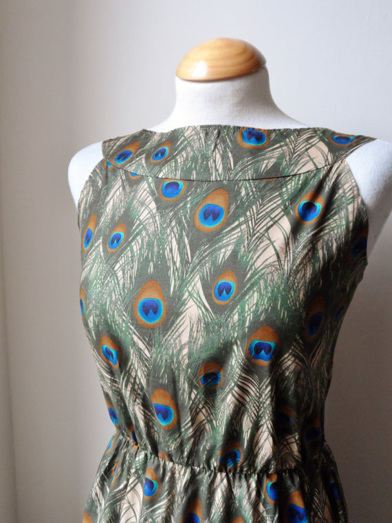 Dress with Boat Neck Design with Peacock Feathe... - Folksy
