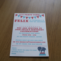 Children's Circus Elephant Personalised Party Invitations (blue and red)