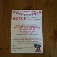 Children's Circus Elephant Personalised Party Invitations (pink and purple)