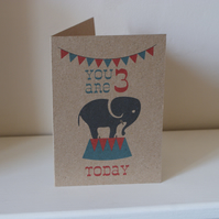 Children's Elephant Circus Birthday Card
