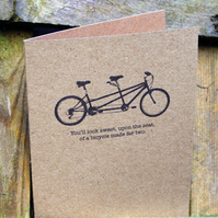 Tandem Bicycle Anniversary or Wedding Day Card