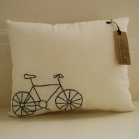 Hand Embroidered Bike Mini Cushion