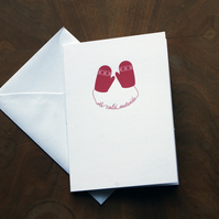 Red Mittens Christmas Card - It's cold outside (White card)