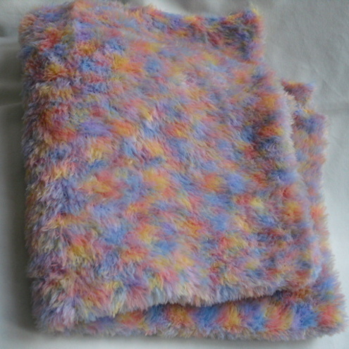 Hand Knitted Soft Fluffy Baby Blanket - multi coloured