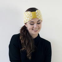 SALE Chevron knitted headband - mustard and cream