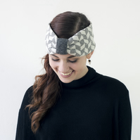 SALE Chevron knitted headband - grey and white
