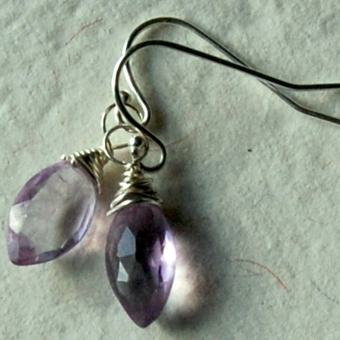 Pink Amethyst Marquise Earrings