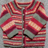 Colourful, contemporary and comfy cardigan with shoes, 3-9 months baby