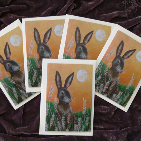 Hare Moon Greetings Cards. Pack of 5.