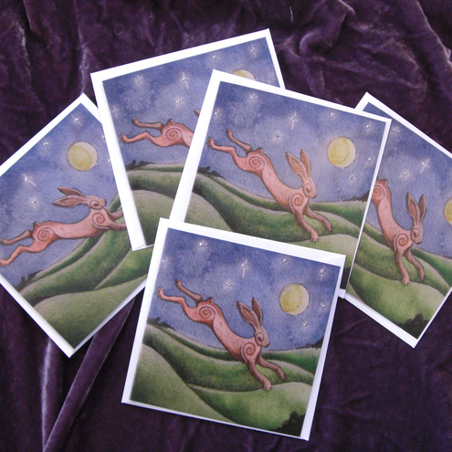 Hare and Moon Greetings Cards