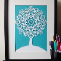 Lace Tree Papercut A4 Giclee Print