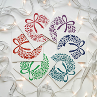 Wreaths Pack of 6 Christmas Cards - Traditional Colours