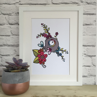 Rainbow Tit Limited Edition A4 Giclee Print