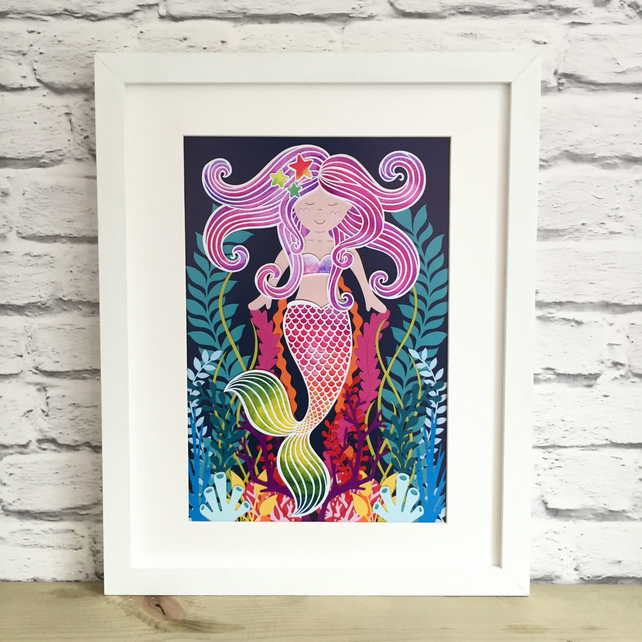 Pearl the Happy Rainbow Mermaid A3 Giclee Print