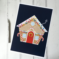 Gingerbread House A4 Giclee Print