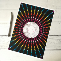 Happy Rainbow Moon A4 Giclee Print