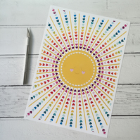 Happy Rainbow Sun A4 Giclee Print