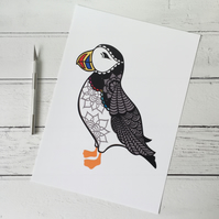 Mr Puffin A4 Giclee Print