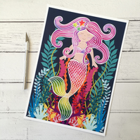 Pearl the Happy Rainbow Mermaid A4 Giclee Print