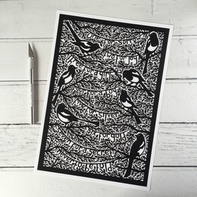 Magpies A4 Giclee Print
