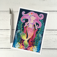 Pearl the Mermaid 7x5 Inch Giclee Print