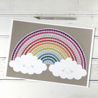 Happy Love Clouds A4 Giclee Print