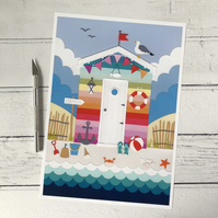 Rainbow Beach Hut A4 Giclee Print