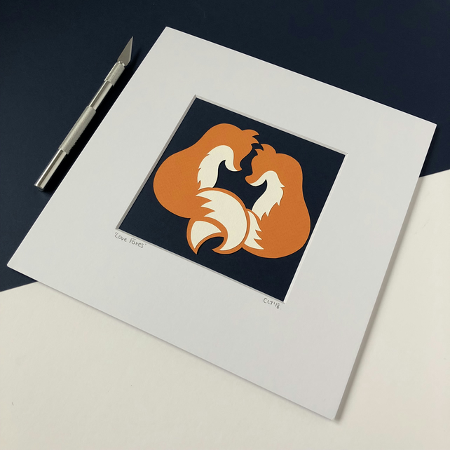 Love Foxes Small Original Papercut Navy