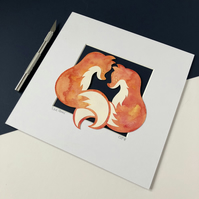Painted Love Foxes  Original Papercut