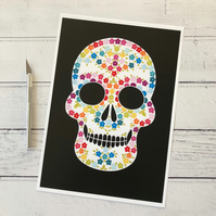 Floral Skull A4 Giclee Print