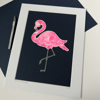 Doris the Flamingo Original Papercut