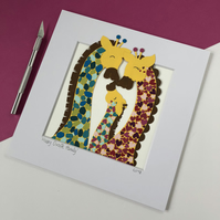 Happy Giraffe Family Original Papercut