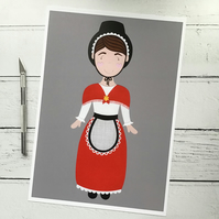Bronwen the Little Welsh Lady A4 Giclee Print