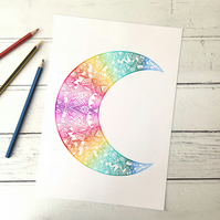 Geometric Rainbow Moon Illustration A4 Giclee Print
