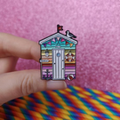 PREORDER Rainbow Beach Hut Enamel Pin