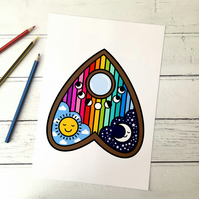 Rainbow Planchette  A4 Giclee Print