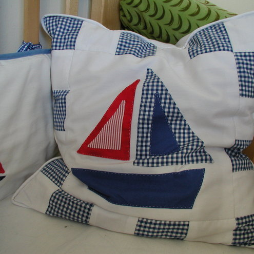 Boy's Boat Applique Cushion