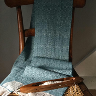 Hand Woven Teal Blue Shetland Lambswool Scarf