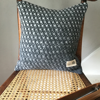 Handwoven Lambswool Block Cushion in Shades of Grey