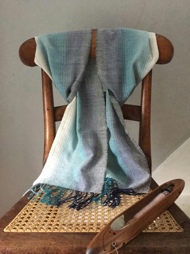 Ocean Shallows Hand Woven Cotton Point Twill Scarf