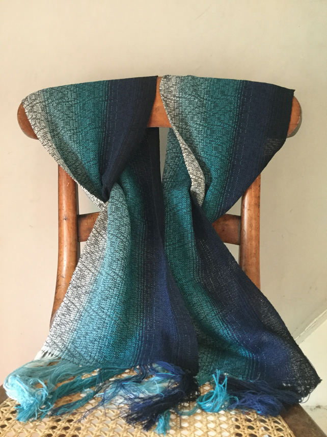 Ebb and Flow Hand Woven Cotton Scarf