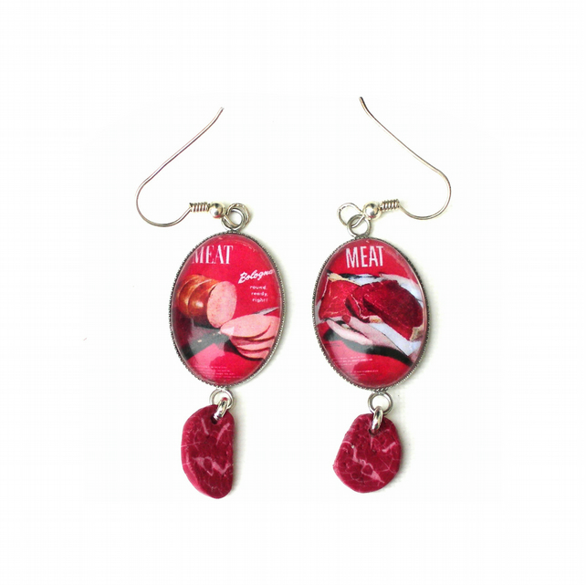 Eat Meat Charm Earrings